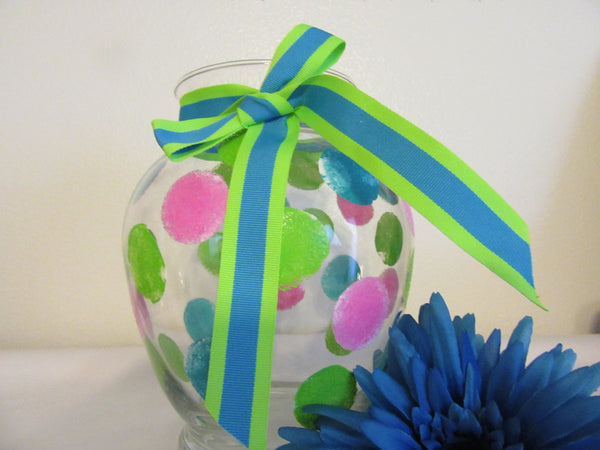 Vase Clear Glass Hand Painted Happy Dots Hot Pink Aqua Lime Green With Aqua Lime Green Bow - JAMsCraftCloset