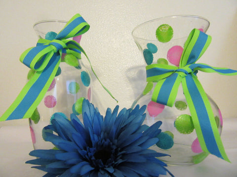 Vase Clear Glass Hand Painted Smaller Happy Dots Hot Pink Aqua Lime Green With Aqua Lime Green Bow - JAMsCraftCloset