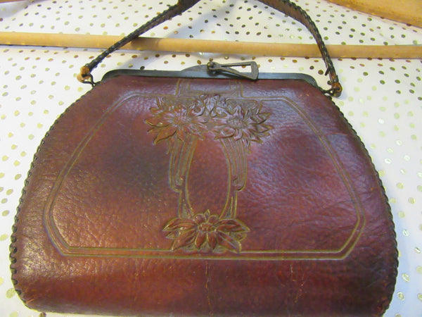 Purse Spanish Craft Brown Leather Tooled Floral Turn Lock Unique Vintage 1918 - JAMsCraftCloset