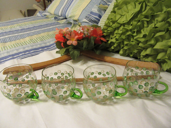 Cups Tea Punch Green Handles Vintage Hand Painted SMALL Clear Glass Set of 4 Green Gold HAPPY DOTS - JAMsCraftCloset