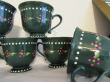 Mugs Cups Hand Painted Dark Green Off White Interior Stoneware Pink Dot Flowers White Dot Trim - JAMsCraftCloset
