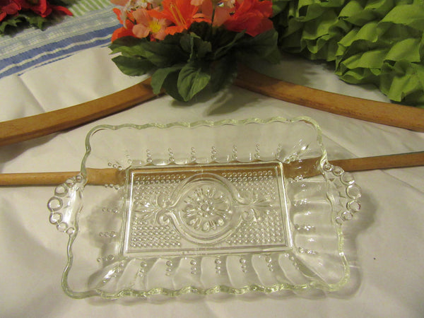 Tray or Dish Relish Rectangle Clear Glass Vintage - JAMsCraftCloset