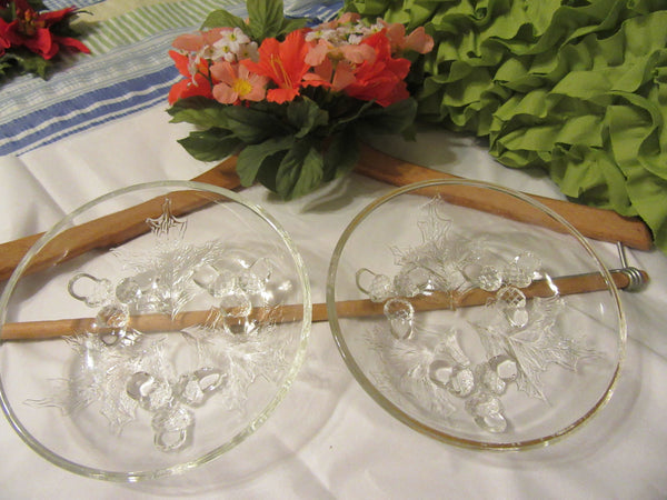 Serving Dish Small Round Clear Glass Vintage Two to Choose From One has Gold Trim on the Rim With Leaves and Acorns as Embellishments Gift - JAMsCraftCloset