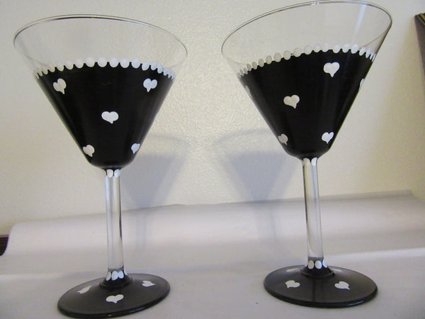 Martini Glasses Hand Painted  Black With White Hearts SET of 2 - JAMsCraftCloset