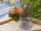 Mom Mug Hand Painted Pink, Aqua, and Purple Glitter Paint Accents - JAMsCraftCloset