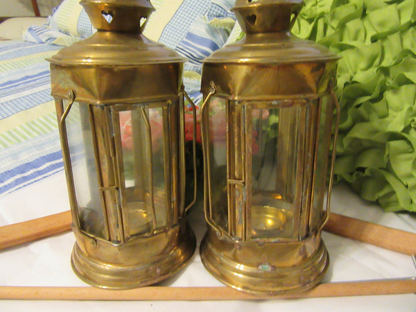 Lantern Brass Tealight Vintage Made in India Outdoor Lighting SET OF 2 - JAMsCraftCloset