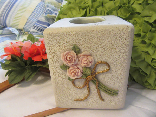 Dezine Tissue Box Lovely Vintage Hand Painted Cottage Chic Appliqued Pink Roses Gold Bow Great Gift Home Decor Cottage Chic Victorian Gift - JAMsCraftCloset