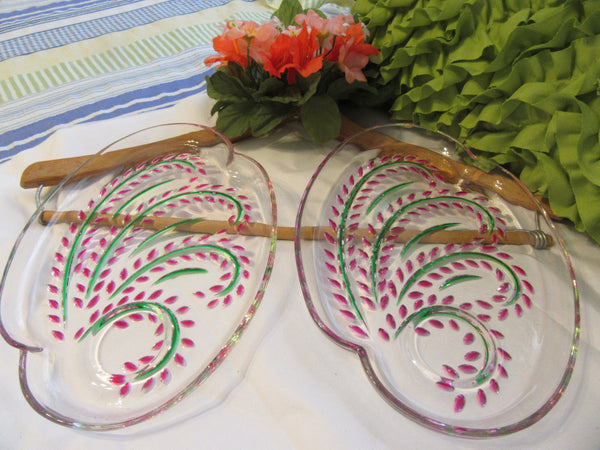 Plates Snack Luncheon Vintage Federal Glass Homestead Hospitality Hand Painted  Two Cups Set of Two Pink Green - JAMsCraftCloset
