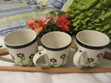 Cups Mugs Coffee Hand Painted White With Black Dot Daisies Set of 2  BUY 2 Get 1 FREE - JAMsCraftCloset