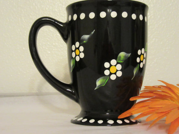 Mug Cup Coffee Hand Painted Black White Dot Daisies - JAMsCraftCloset