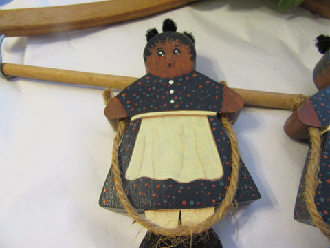 Shelf Sitter Girl Jumping Rope Vintage Black Americana Hand Made Hand Painted Pickaninny - JAMsCraftCloset