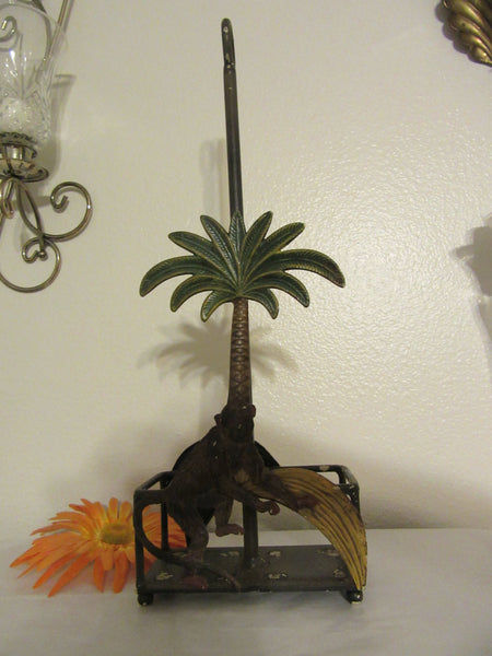 Box Monkey and Banana on Wire Box Palm Tree Vintage Country Find Salt and Pepper Holder - JAMsCraftCloset