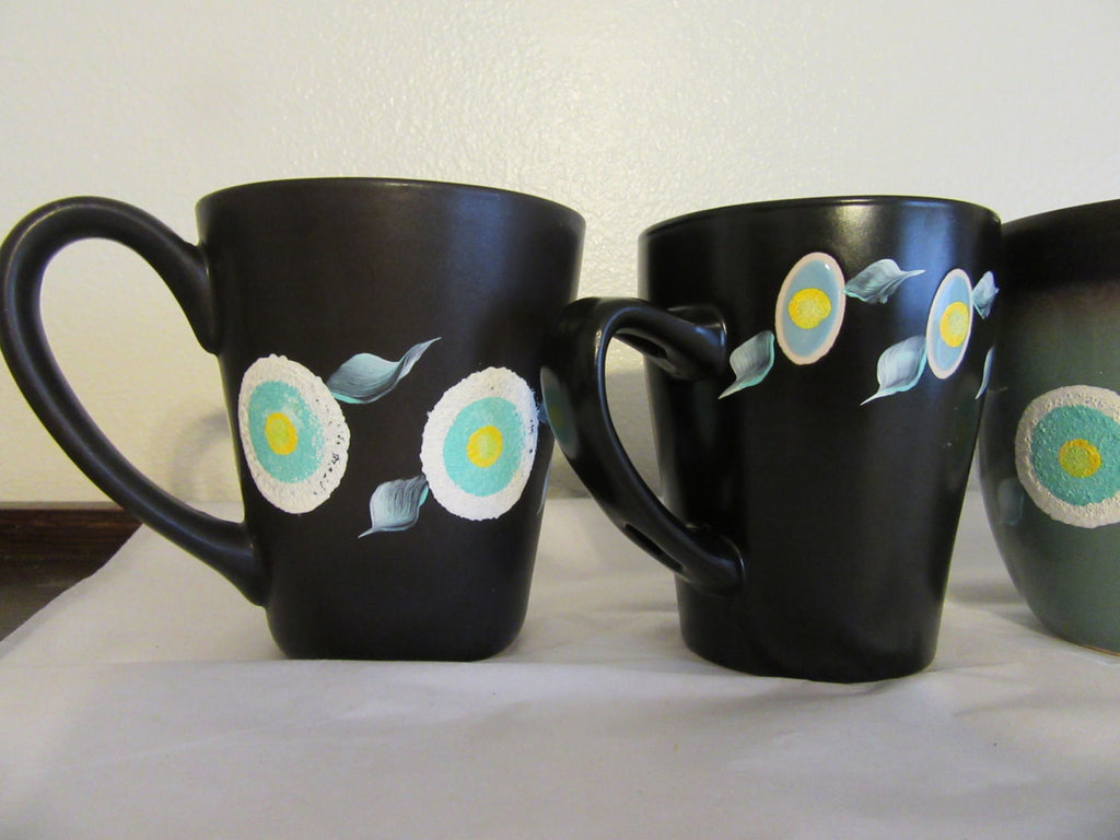 Cups Mugs Hand Painted HAPPY DOT Design Aqua Black White and Yellow Flowers - JAMsCraftCloset