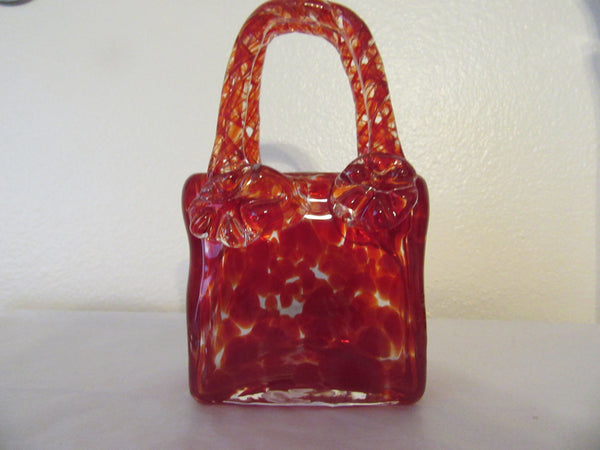 Basket Red Glass Handmade SMALL Vintage Two Handled Handmade - JAMsCraftCloset