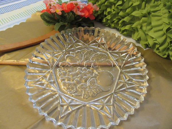 Cake or Serving Plate Vintage Clear Glass Round Embossed Fruit and Geometric Designs - JAMsCraftCloset