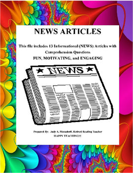 Informational NEWS Articles Comprehension Questions Teacher Resources - JAMsCraftCloset