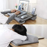 "HUANUO Laptop Tray for Bed with Cushion, Built in Mouse Pad & Wrist Pad for Notebook up to 17"" with Tablet, Pen & Phone Holder"