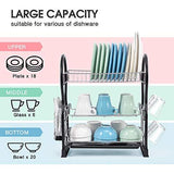 Kingrack Dish Drainer,3-Tier Dish Rack,Easy Assemble Large Capacity Dish Drying Rack with Side Mounted Utensil Holder and Cup Holder, Organizing Dishes Kitchen Counter Top or Sink Side