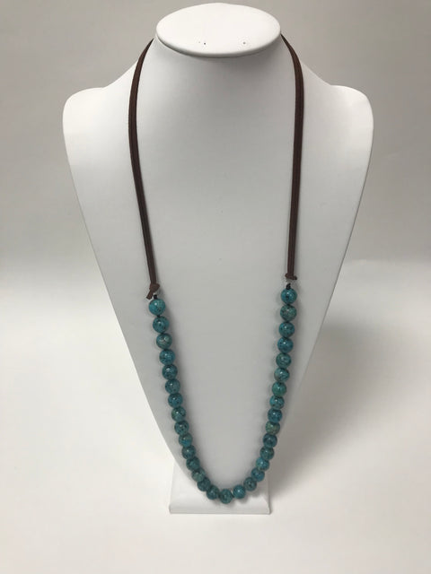 Brown Leather Turquoise Bead Necklace