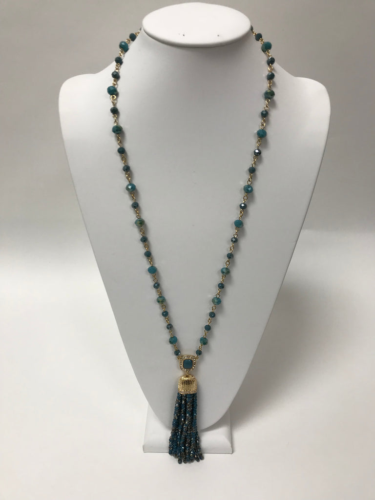Gold Fringe Necklace Turquoise