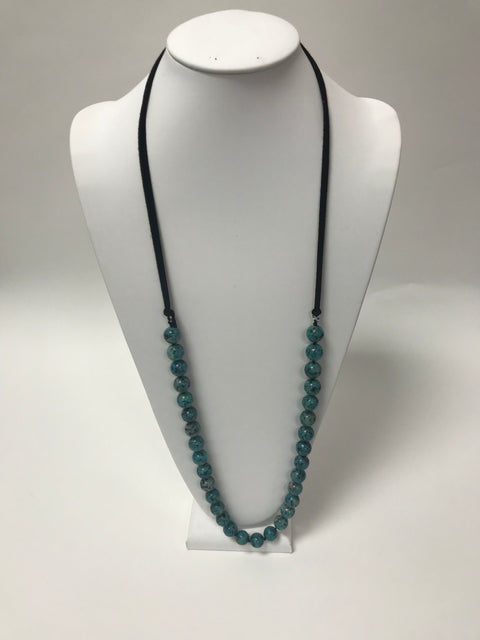 Black Leather Turquoise Bead Necklace