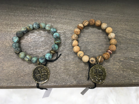 Bracelet With Beads and Coin