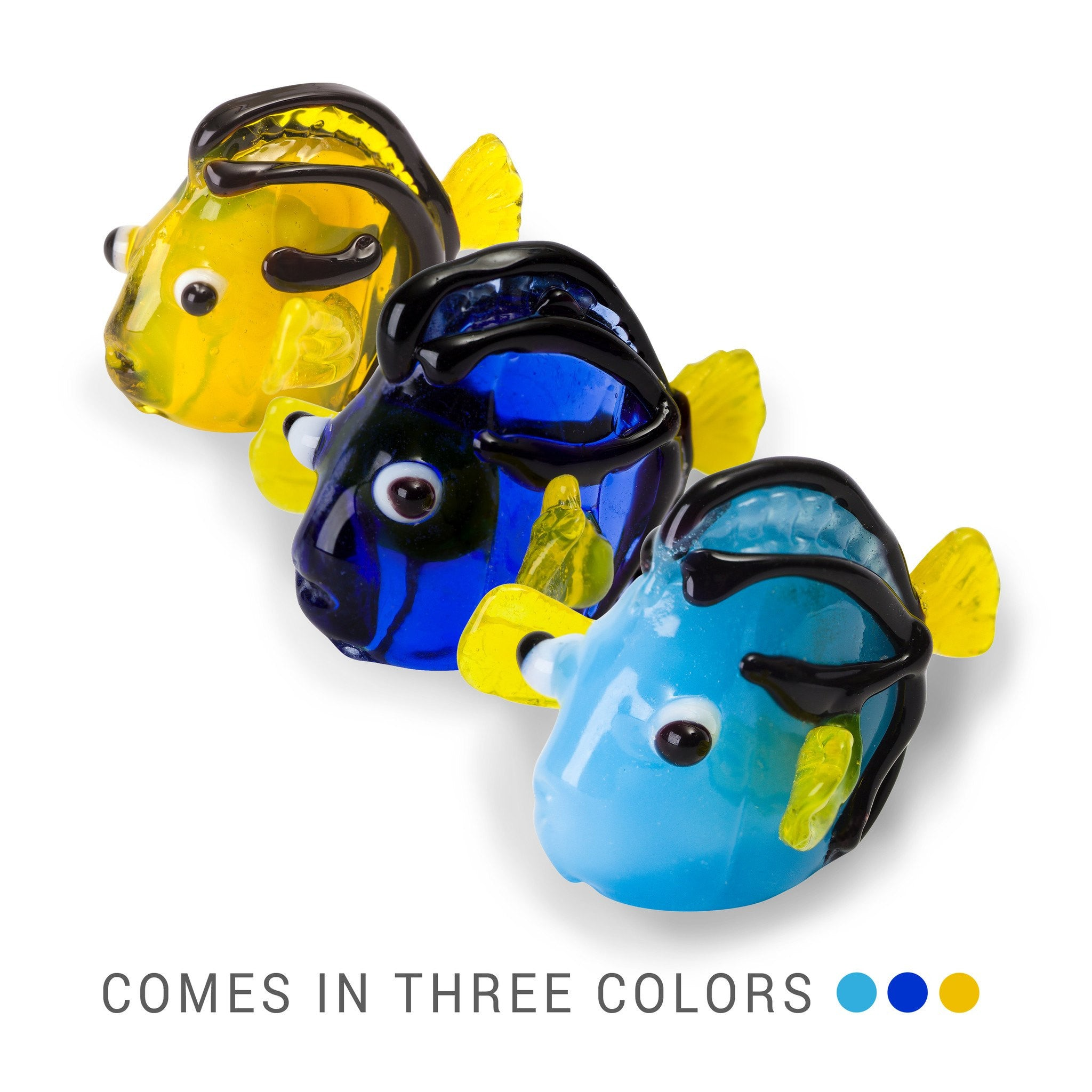 DORA the Blue Hippo Tang Fish (in Tynies Collector's Frame) Miniature glass figurines
