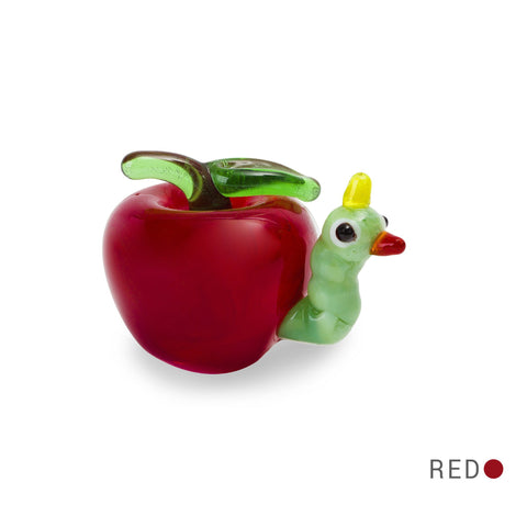 EAT the worm in apple (in Tynies Collector's Frame) Miniature glass figurines
