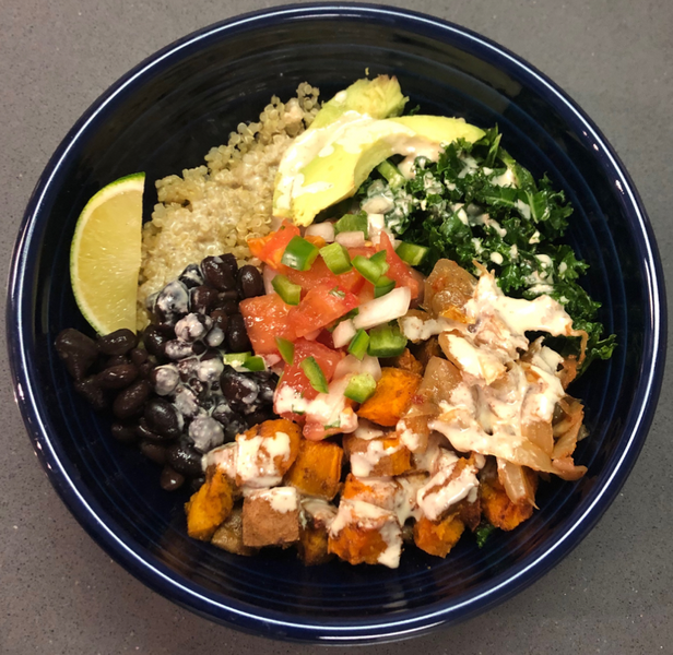Recipe: Kale & Quinoa Vegan Burrito Bowl w/Sauerkraut & Sweet Potatoes