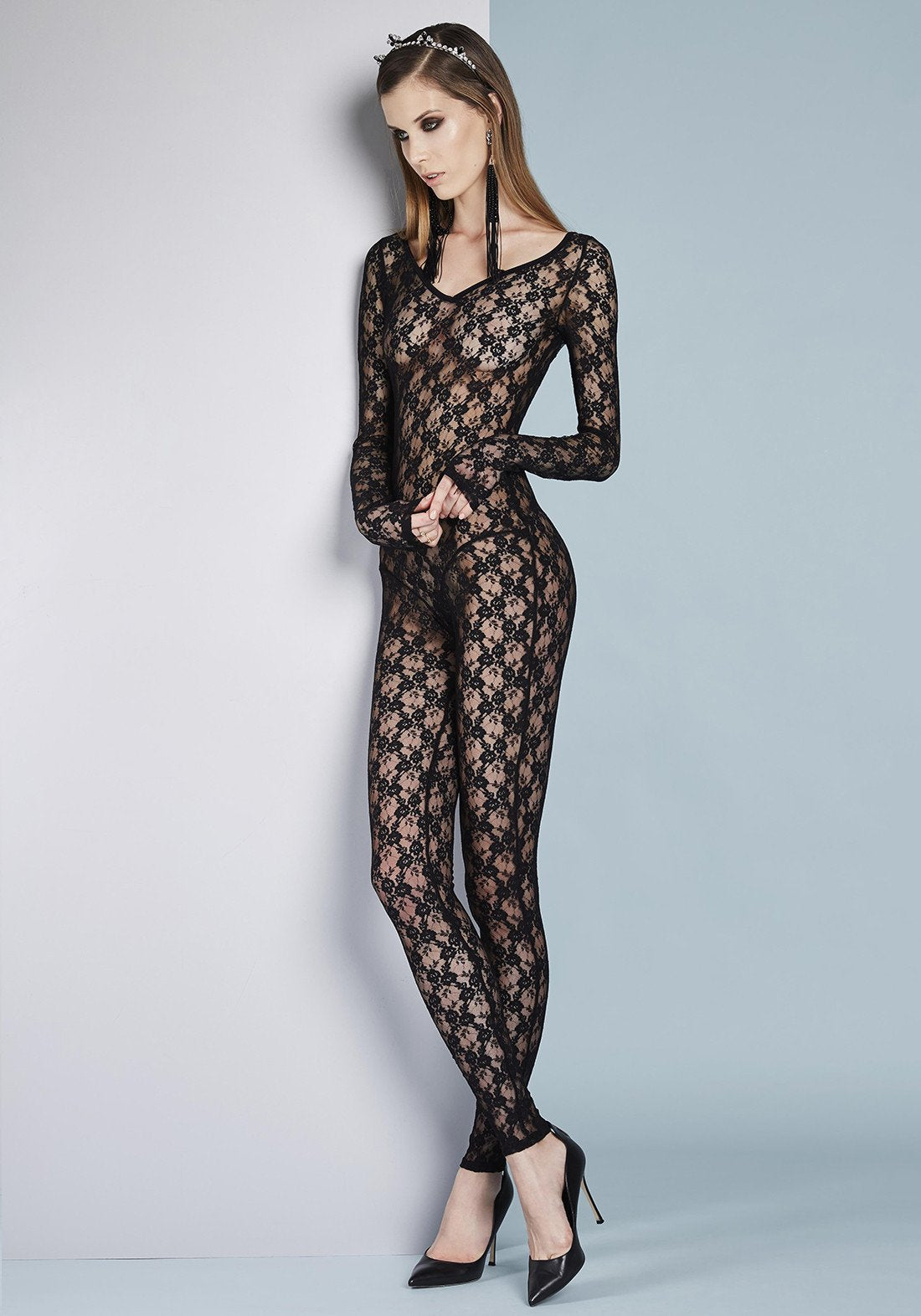 Petits Plaisirs Lace Jumpsuit in Black