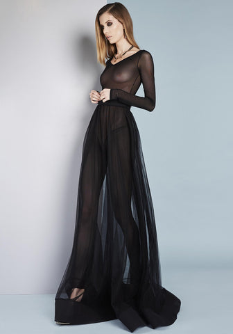 Petits Plaisirs Tulle Jumpsuit in Black