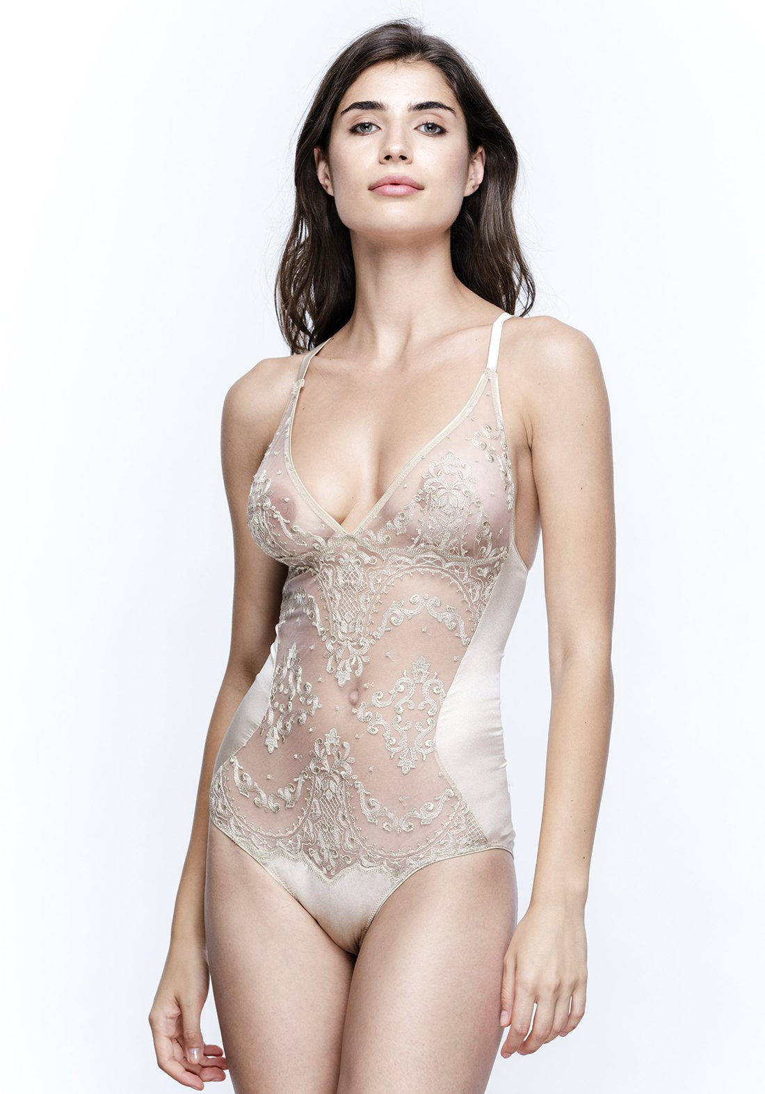 Mystère De Minuit Embroidery Bodysuit in Imperial Gold