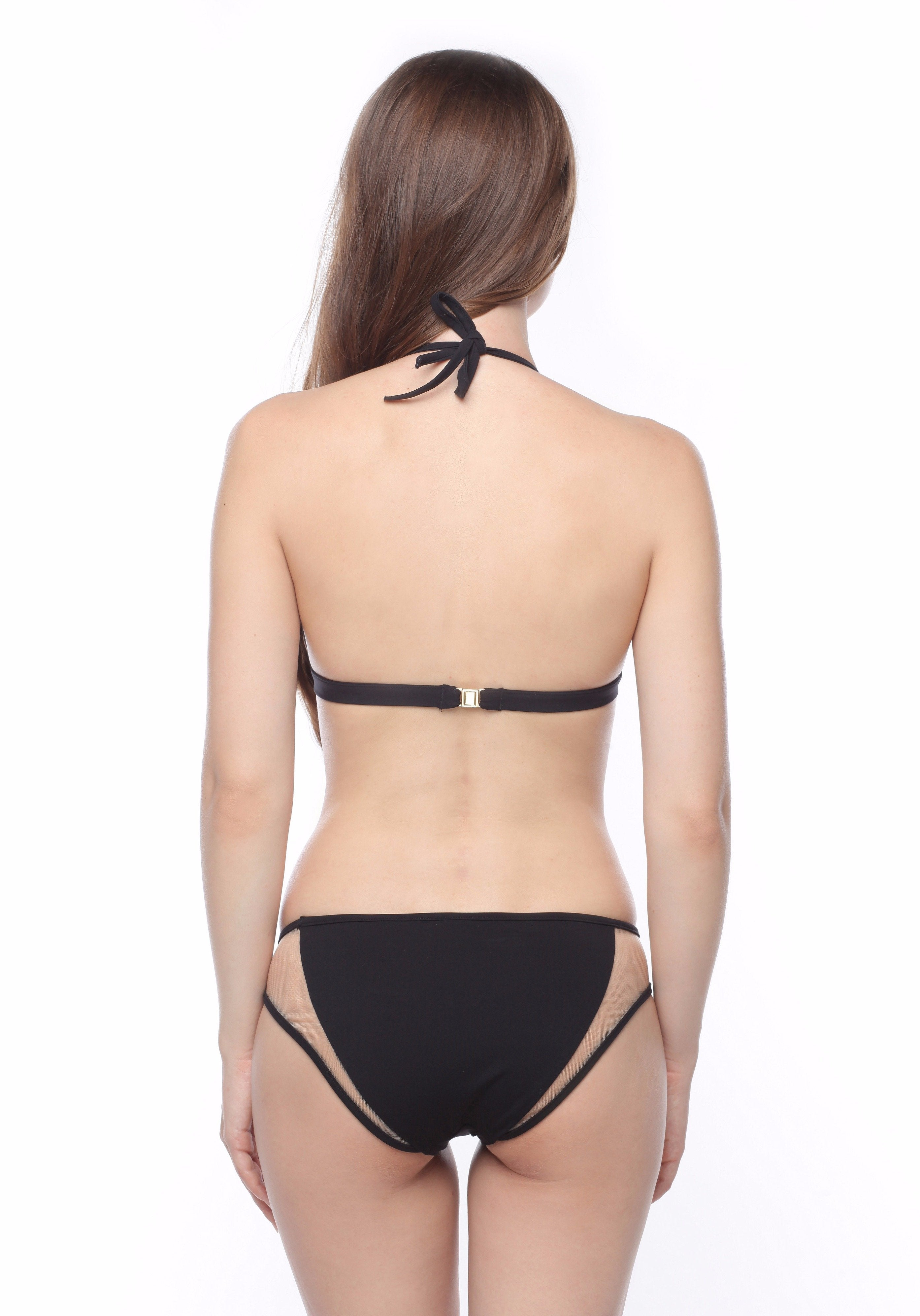 Sunrise in Seychelles Bikini Bottom in Black