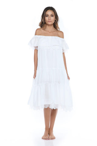 Paradiso Off Shoulder Midi Frill Dress in White