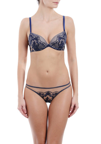 Enigma Underwired Half-Cup Bra in Ivory/Black