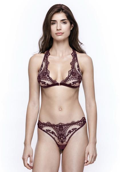 Mystère De Minuit Lace Thong in Dark Berry