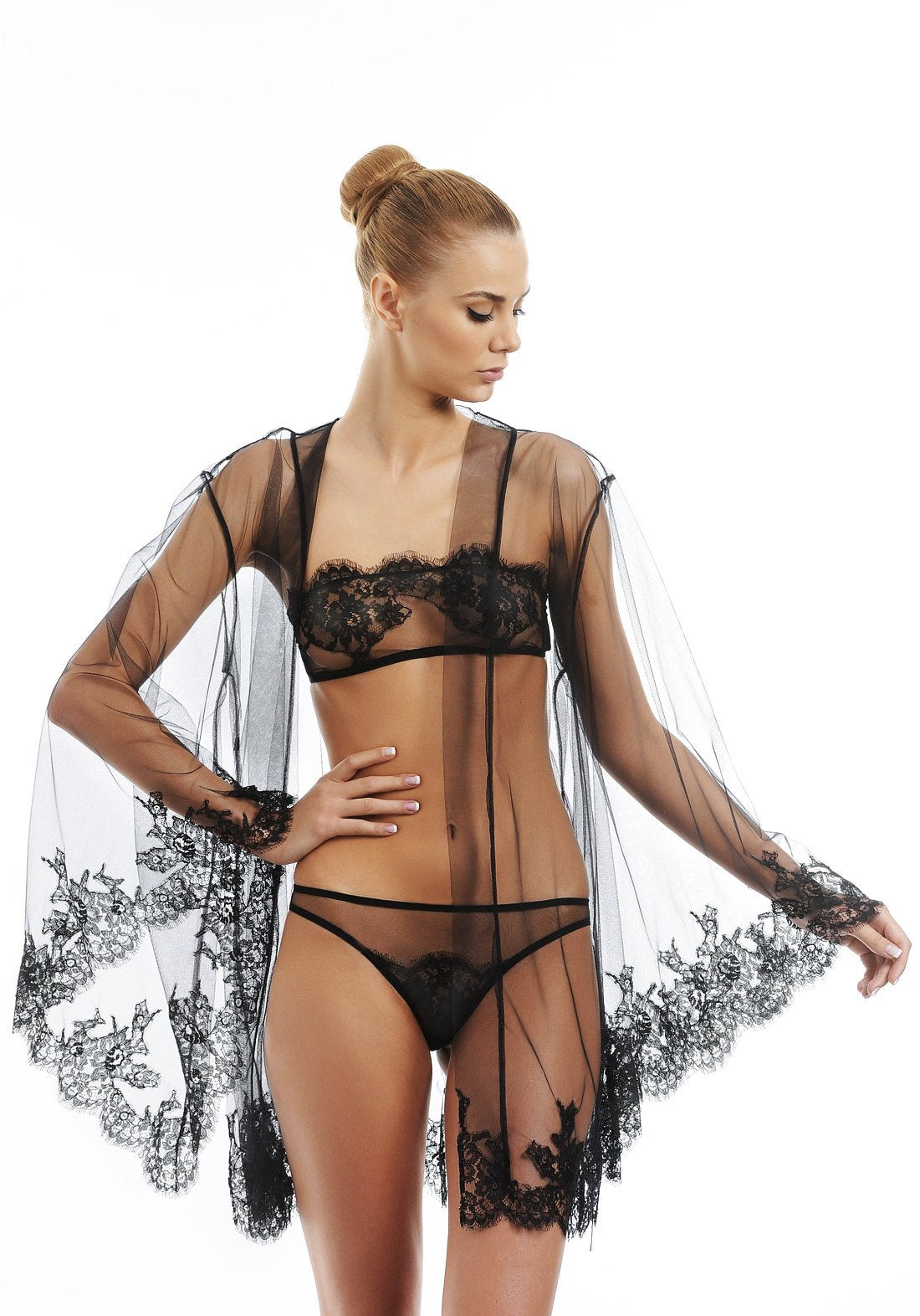 Boudoir Tulle and Lace Mini Robe in Black