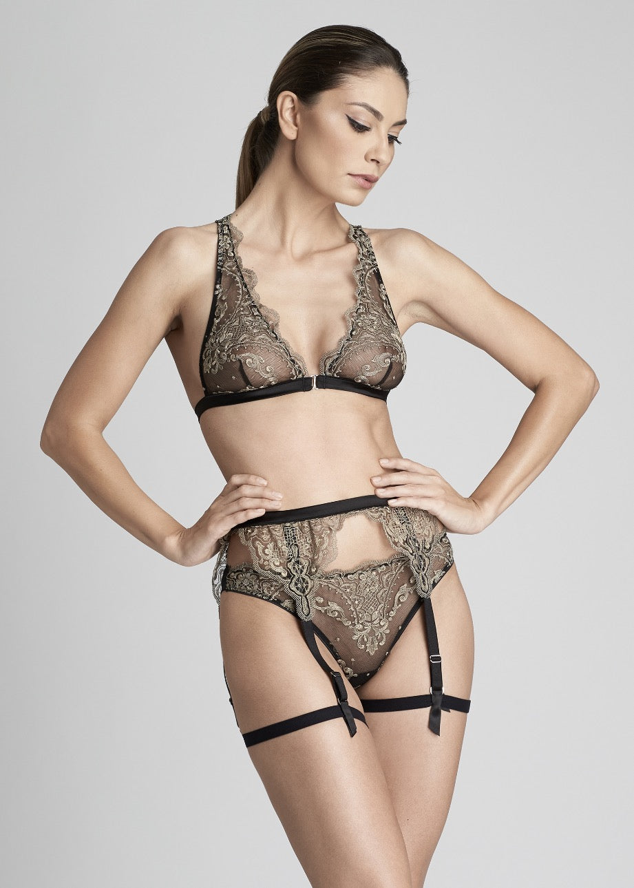 Le Désir Suspender in Metallic Black