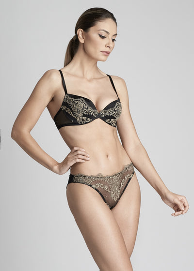Le Désir Padded Push up Bra in Metallic Black