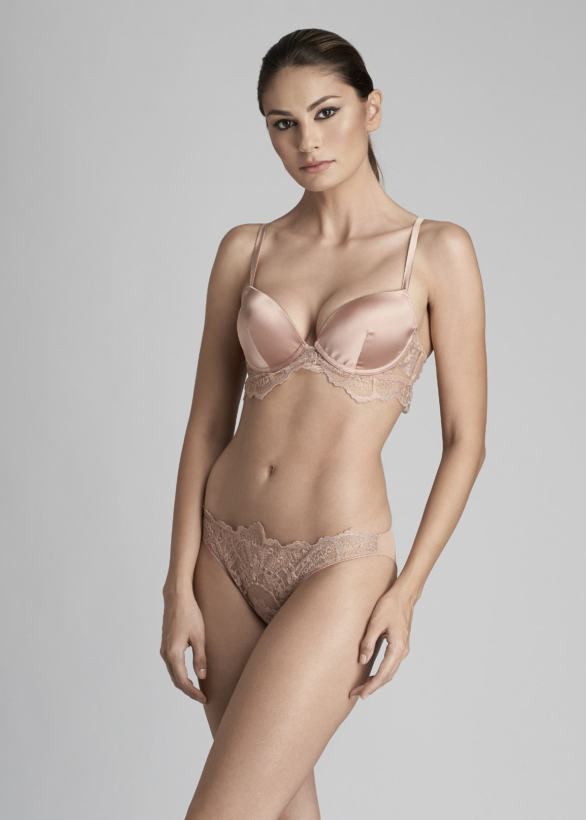 I.D. Sarrieri silk and lace padded push up bra in rose