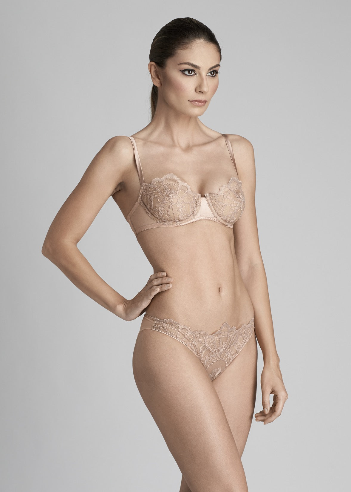 I.D. Sarrieri silk and lace rose underwired bra