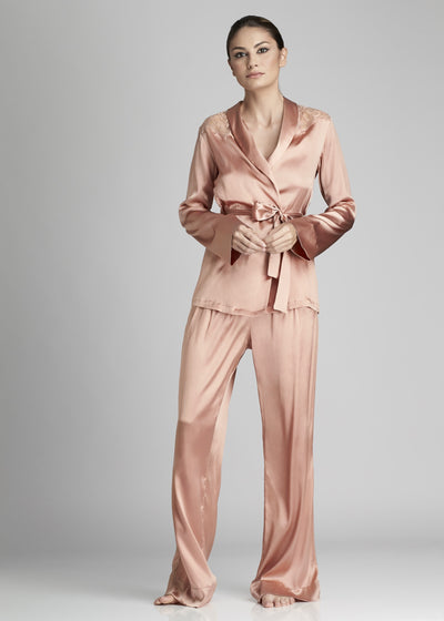 I.D. Sarrieri silk and lace pyjama blouse in rose
