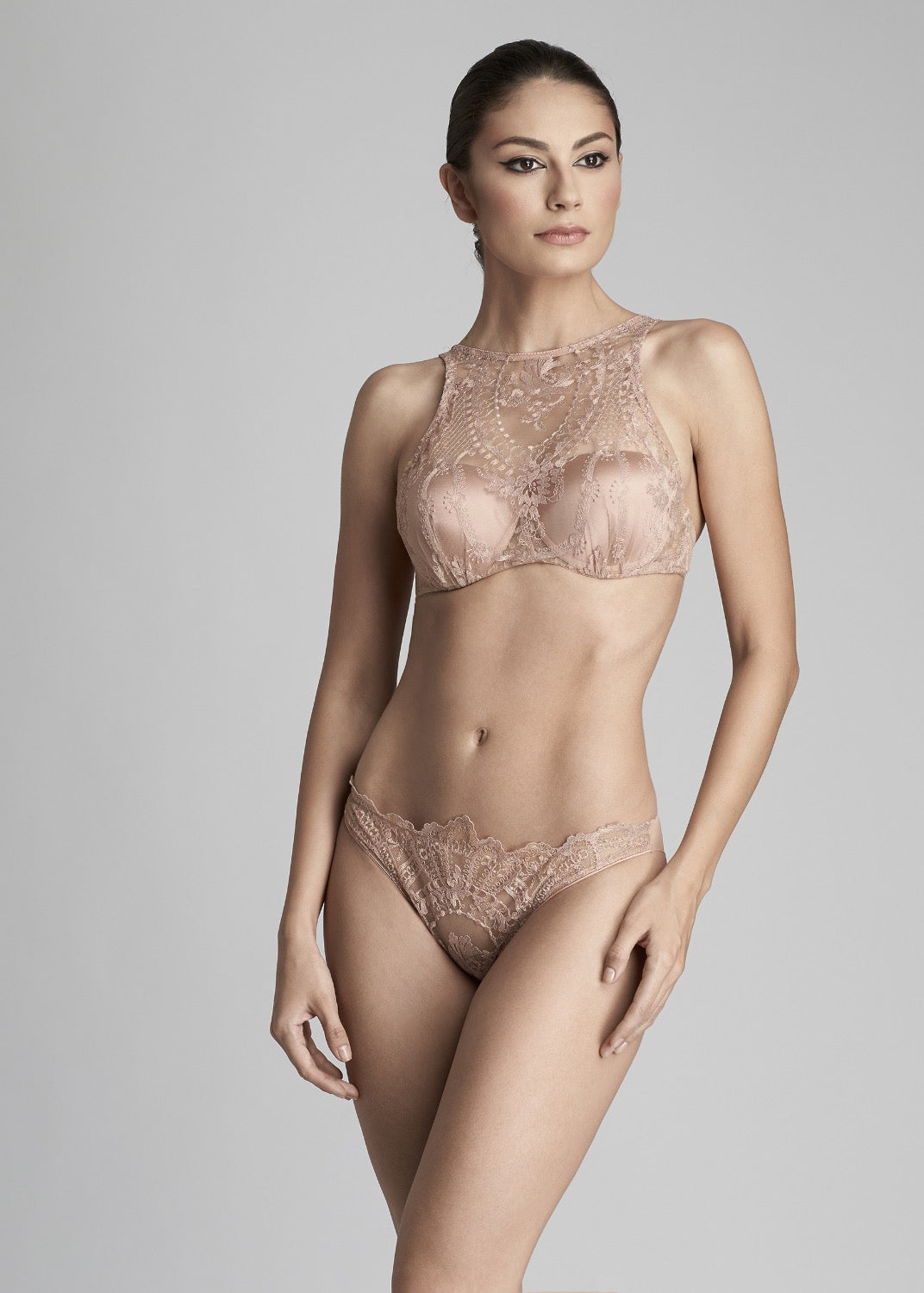 Desert Rose High Neck Padded Push Up Bra in Rose Gold - I.D. Sarrieri