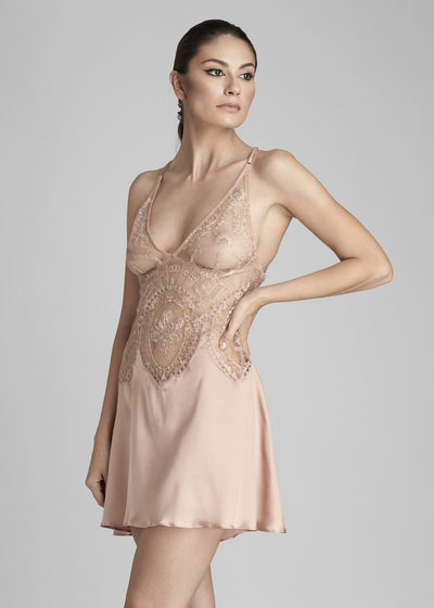 I.D. Sarrieri silk and lace midi dress in rose