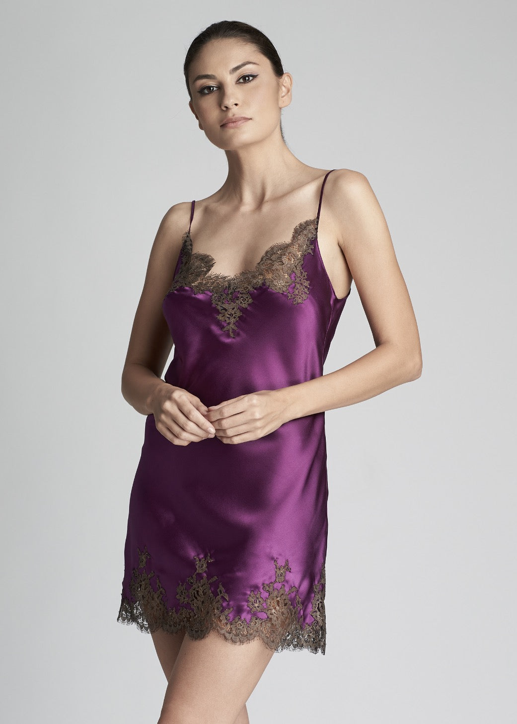 Hotel Particulier Lace Trimmed Satin Silk Mini Chemise In Violet Mink