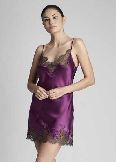 I.D. Sarrieri Midi Silk and lace Camisole in Violet