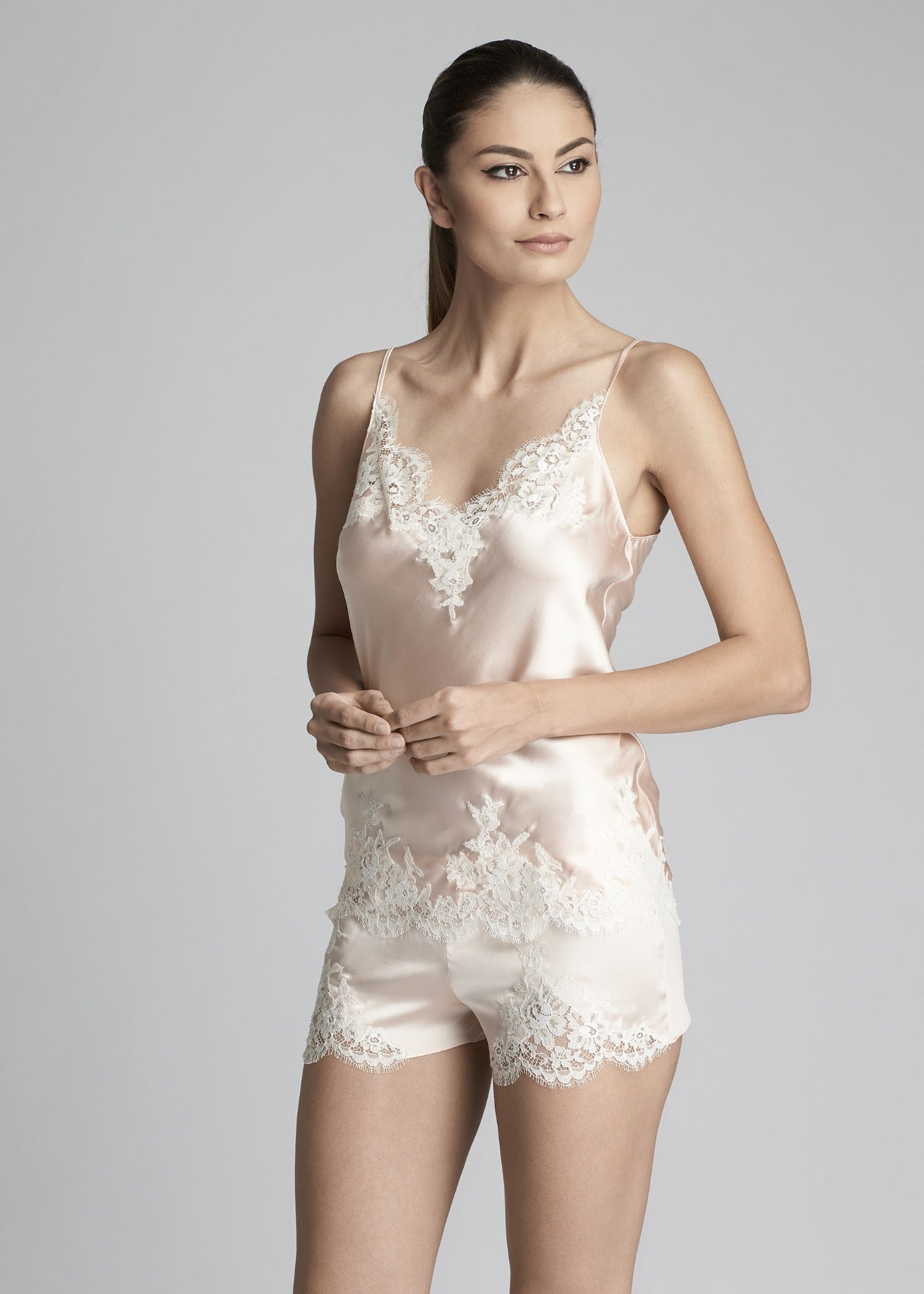 I.D. Sarrieri Silk and lace orchid camisoleI.D. Sarrieri Silk and lace rose top