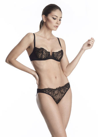Nuit Interdit Padded Balconette Bra with Swarovski Crystals in Black