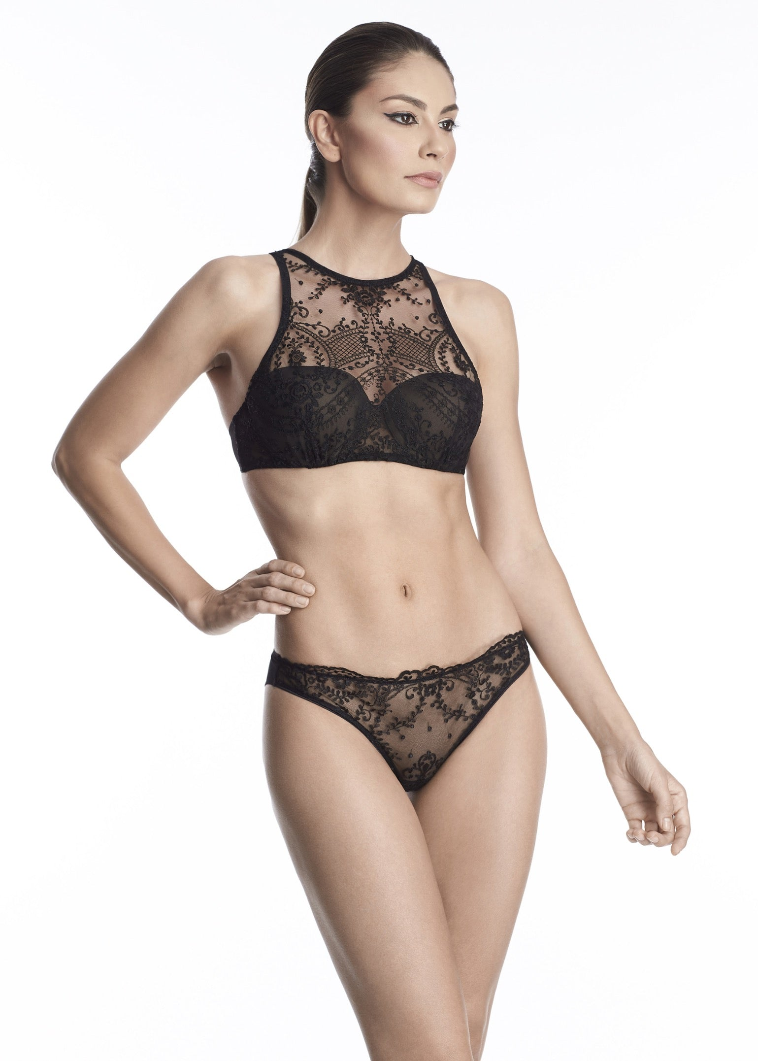 Hollywood Dream High Neck Balconette Bra in Black