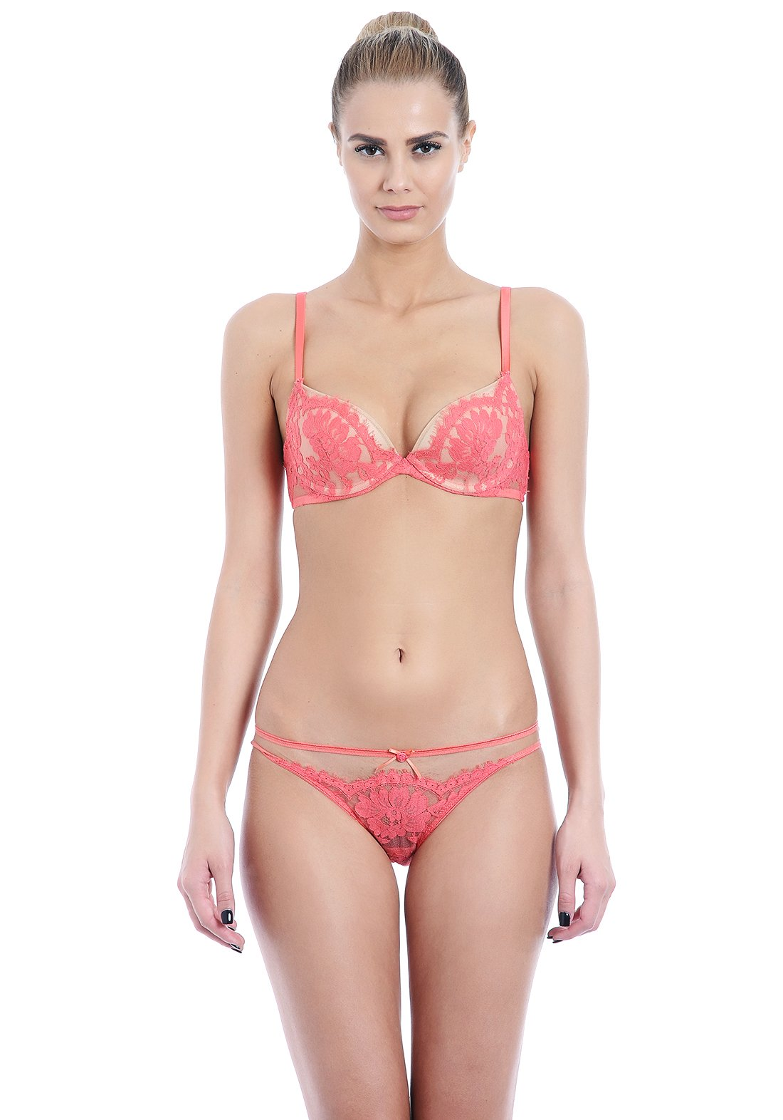 Essence D'Amour Plunge Padded Bra in Coral